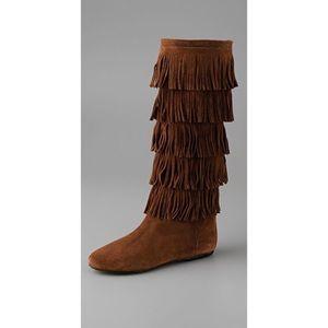 Joie Deja Vu suede Fringe Flat Boots Cognac